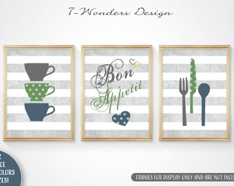 Modern Kitchen Art Print Set - Bon Appetit, Cups, Utensils // Grey, Blue Green // Set of (3) 5x7 OR 8x10 // Modern Kitchen Art - Unframed