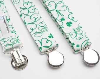 Suspenders - St Patrick's Green Shamrock Adjustable Suspenders