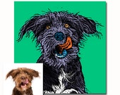 Personalized pet dog portrait Andy Warhol style Pop art - your picture - any colors - digital
