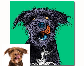 Custom dog portrait - Personalized pet portrait - Gift for pet owners - Andy Warhol style Pop art - your picture - any colors - digital