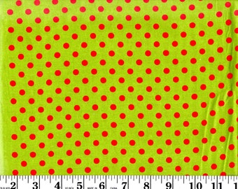 1 yard, Red Dots on Lime Green