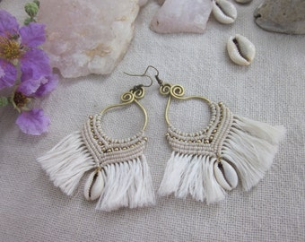 bohemian white  macrame fringe sea shell earrings