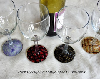 ON SALE!  All Mixed Up - Set of 4 Stylized Wineglasses