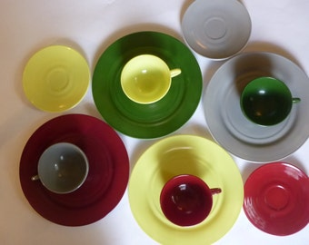 Mid Century Dishes Hazel Atlas Glass Luncheon Set Collection of 11 Plates Cups and Saucers 50's