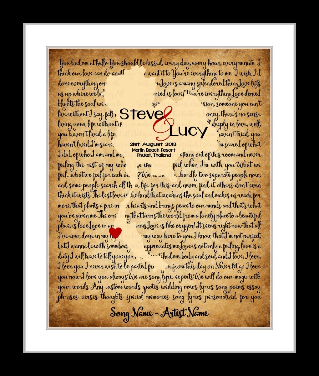 Thai Wedding Gifts: Song Lyrics Print Thailand Map Rustic Wedding Gift For