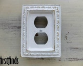 Framed Outlet Plate Small Shabby Chic White Electrical Cottage Painted Cover Vintage Metal Wood Wall Plug Cover Decor DETAILS LISTED BELOW