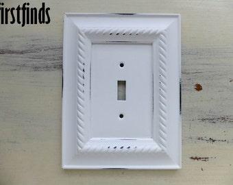 Light Switch Plate Cover Shabby Chic White Electrical Framed Painted Vintage Wall Cottage Decor Wood Metal Toggle ITEM DETAILS BELOW