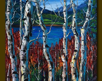 Birch Landscape Giclee Canvas Print from Original Oil Painting by Willson Lau STRETCHED & Ready To Hang