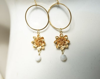 Gold and Moonstone Dahlia Earrings, Floral Earrings, Moonstone Hoop Earrings