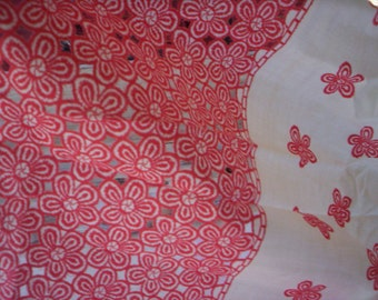 Red and off white cotton floral lace fabric/Red floral lace fabric/Vintage lace fabric/Sewing supply/Mothers day fabric/Spring lace fabric