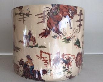 SALE* Vintage cowboy lampshade handmade in the uk