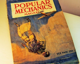 1928 POPULAR MECHANICS magazine lovely charming great christmas gift paper magazine geek hipster chic manly man or super cool chic etsy love