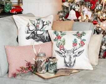 Christmas Pillow Vintage Burlap Pillow Cover Elk Holly Cotton Throw Pillow Cover #CH0432