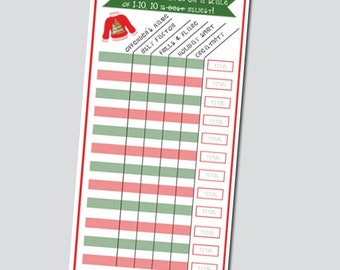 Tacky Sweater Scorecard - INSTANT DOWNLOAD