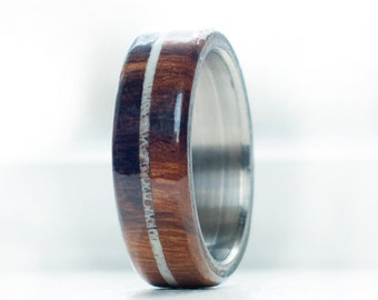 Mens Wedding Band Wood with Antler Inlay Ring