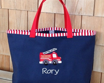 Kids Personalized Blue Canvas Tote with Fire Truck  Design