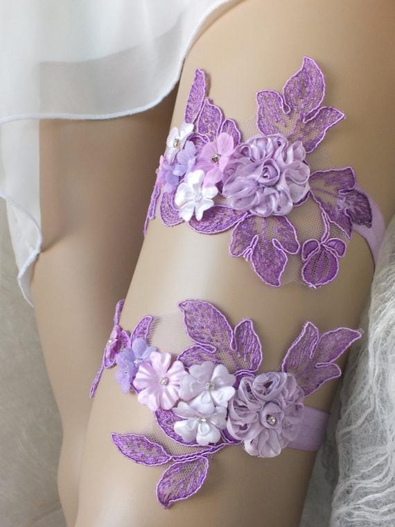 Unique Purple Lilac Soft Pink Wedding Garter Set By ByVIVIENN