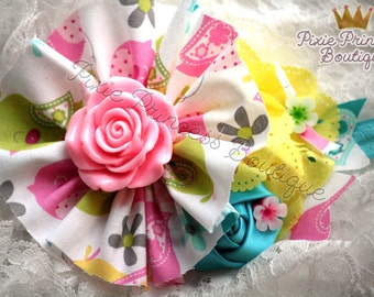 Springtime Soiree - Headband, Baby Headband, Photography Prop, Couture Headband, Hair Clip, Spring Headband, Flower Headband, Floral