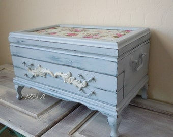 End of Summer SPECIAL French Country Chic Large Jewelry Chest.  Hand Painted in Gray with Blue undertone. Rosalco, Inc.