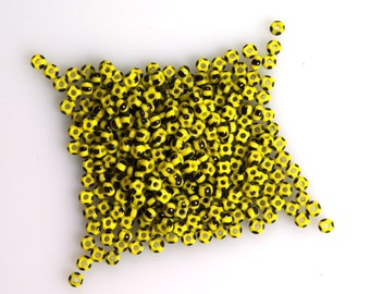 Yellow with Thick Black Stripes Size 8/0 French Seed Beads Geometric Minimalist Modernist 10 grams Rare