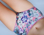 Tropical flower patterned Hipster style Panties. Orchid and rhododendron flowers, tropical leafs etc.