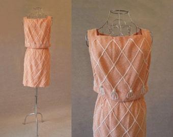 Peach Linen Look Dress With Cord Trim - 1960s