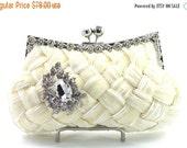 SALE 30% OFF Cream Woven Satin Crystal Rhinestone Bridal Clutch Wedding Purse