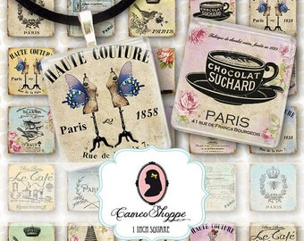 75% OFF SALE SHABBY French Digital Collage Sheet 1 inch Square Printable Pendants Magnets Instant Download
