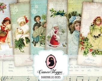 75% OFF SALE BOOKMARK Digital collage sheet Vintage Christmas digital sheet scrapbooking instant download