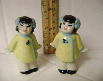 Vintage Japanese Salt Pepper, girl ethnic salt and pepper