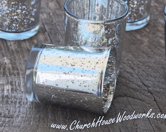 36 Silver Mercury Glass Votive Holders - Candle Holders for Weddings - Glass Votive Candle Holders - Wedding Decorations