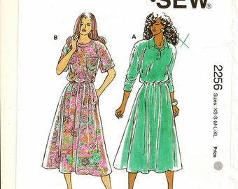 """A Pullover, Long or Short Sleeve, Tee or Placket Top, Flared Skirt Dress Pattern for Women: Sizes XS-S-M, Bust 31.5"""" - 38.5"""" ~ Kwik Sew 2256"""