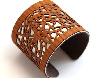 London Map Cuff Bracelet | City Map Bracelet | Map Jewelry | Wood Bracelet | Custom Bracelet | Custom Gifts for Her | Laser Cut Jewelry