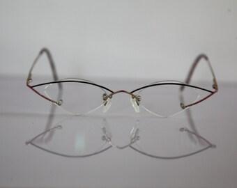 Vintage VIDI VICI SUCHY U.F.O. Eyewear, Gold Half Rimless Frame, Rx-Able Prescription. Rare Piece. Made in Germany