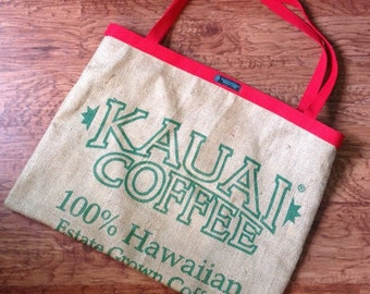 Kauai Coffee Hawaii Burlap Large Tote Bag