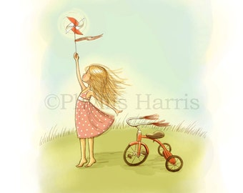Little Girl with Pinwheel and Tricycle - Choose Gingham or Polka Dots - Customizable Hair Color