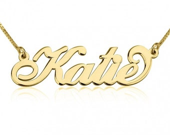 Dainty Name Necklace, Personalized Name Necklace, 24K Gold Plated Sterling Silver Carrie Name Necklace,
