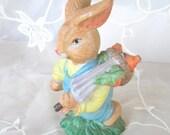 50% OFF SALE Bunny Rabbit Carrying Basket of Carrots Porcelain Figurine, Easter, Spring Decor, Vintage Item