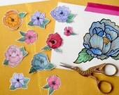 Hand Drawn + Hand Cut Flower Stickers - Set of 8 (Illustrated - Quirky - Planner Decoration - Envelope Seals - Labels)