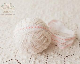 White and pink headband/ newborn prop, photography prop, newborn headband, newborn prop, baby headband