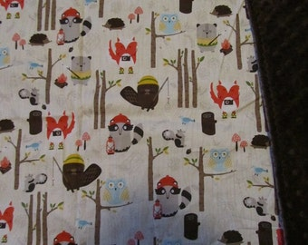 Brown Woodland Animals Camping/Fox/Bear/Beaver/Owl  Cotton/Minky Baby/Toddler Blanket