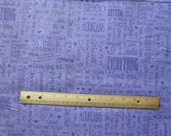 Purple Baby Girl Words/Phrases Cotton Fabric by the Yard