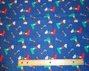 Blue Snoopy/Woodstock Candy Canes/Stocking Christmas/Winter Cotton Fabric