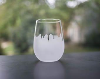Etched Vilnius, Lithuania Silhouette Wine Glasses or Stemless Wine Glasses