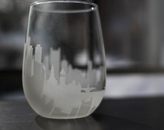 Etched Boston Massachusetts  Skyline Silhouette Wine Glasses or Stemless Wine Glasses