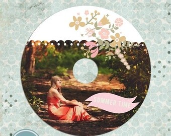 ON SALE CD/ Dvd Label Template - Summer/Spring  template - Psd template - Instant download