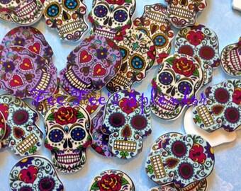 "5 pc set- Sugar skull cabochon- ""Dia de los Muertos""  Day of the dead- flatback resin- Gothic Princess skull planar resin"
