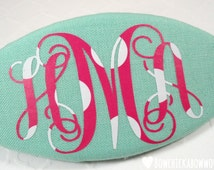 "Girls Monogrammed Hair Clip, Personalized Gift - Aqua, Hot Pink, White - 3.5"" Oval Barrette with Custom Monogram, Gift for Girls"