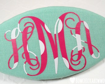 """Girls Monogrammed Hair Clip, Personalized Gift - Aqua, Hot Pink, White - 3.5"""" Oval Barrette with Custom Monogram, Gift for Girls"""