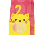 """SALE From HEIKO ....Animal Print treat bag with window """"CAT"""" with Gusset Set of 10 Medium Size Paper Bags with lining.."""